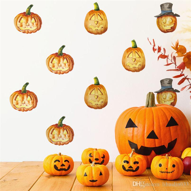Happy Halloween Pumpkin Witch Wall Sticker Removable Decal Decor ...