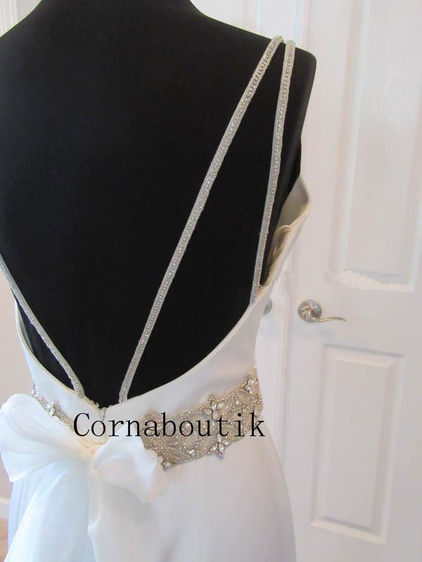 Glamorous Satin Fit and Flare Wedding Dress Bateau Beaded Straps Belt Custom Size Bridal Gown Casamento Robe De Mariee COR-1257
