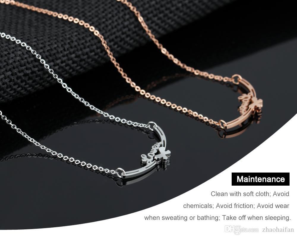 ZHF JOYERÍA Arco de San Valentín Amor Mujer Gargantilla Collares Lindo Cadena de enlace de regalo de joyería de acero inoxidable de Rose chapado en oro rosa cadena GX1110