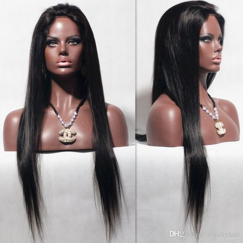New Arrival Virgin Unprocessed 7A Peruvian Human Hair Silky Straight Bleached Knots Silk Top Full Lace Wigs With Baby Hair