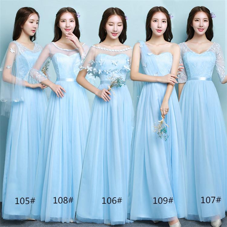 2a1b9dde17 Compre 2018 Nuevos Vestidos De Dama De Honor De La Boda Del Cielo Largo Azul  Mujeres Prom Party Cocktail Vestidos De Noche Elegantes Hermosos Vestidos  De La ...