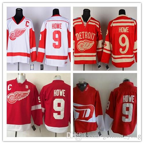 15a87bedb ... 2017 2017 New Detroit Red Wings Jerseys 9 Gordie Howe White Red Ccm  Vintage Throwback Nhl ...