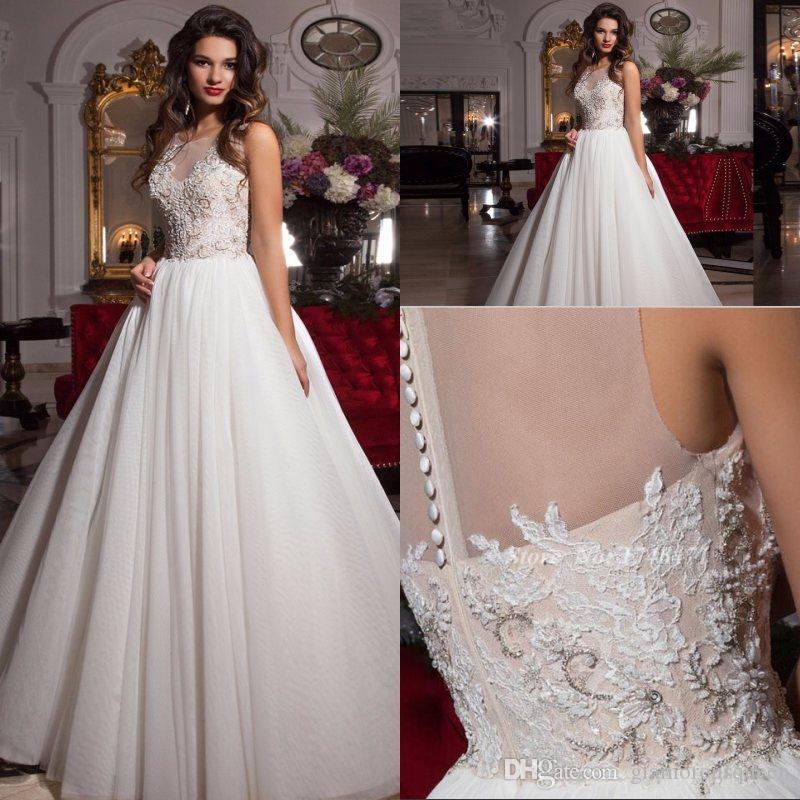 Saudi Arabia Vestido de noiva Charming robe de mariee Lace See Thrrough Wedding Dresses with Buttons Wedding Gowns zipper Back