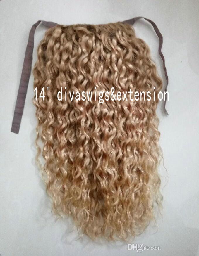 Kinky kıvırcık sarışın insan saçı İpli at kuyruğu postiş klip bal sarışın afrika kıvırcık saç uzantıları 14 inç 120g ücretsiz gemi