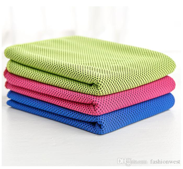 Rendimiento de refrigeración toalla de deportes al aire libre fría como el hielo de la bufanda bufandas de necesidad Pad corbata Muñequera Beach diadema verano Suministros regalo Coolin