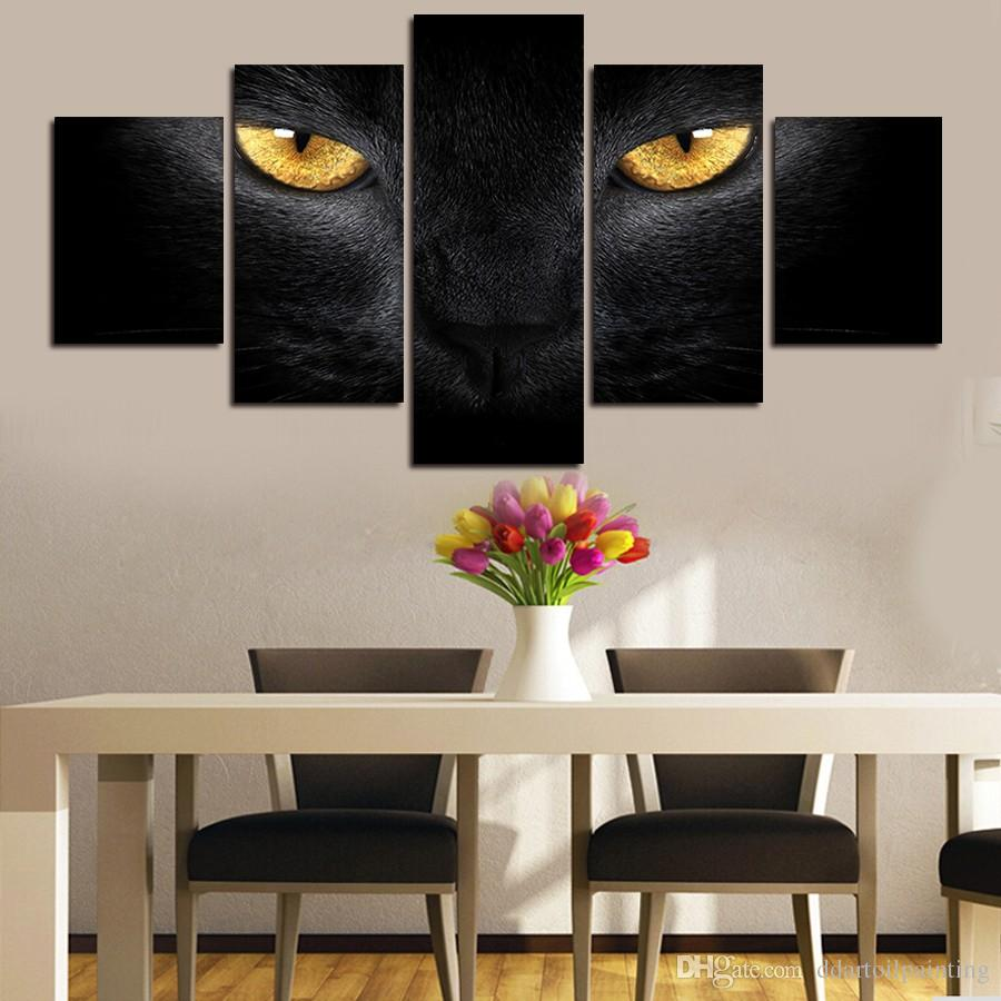 2016 New 5 Panels Black cat Print painting Canvas Painting Modern art Print Wall Art Gift Top for Home Decoration