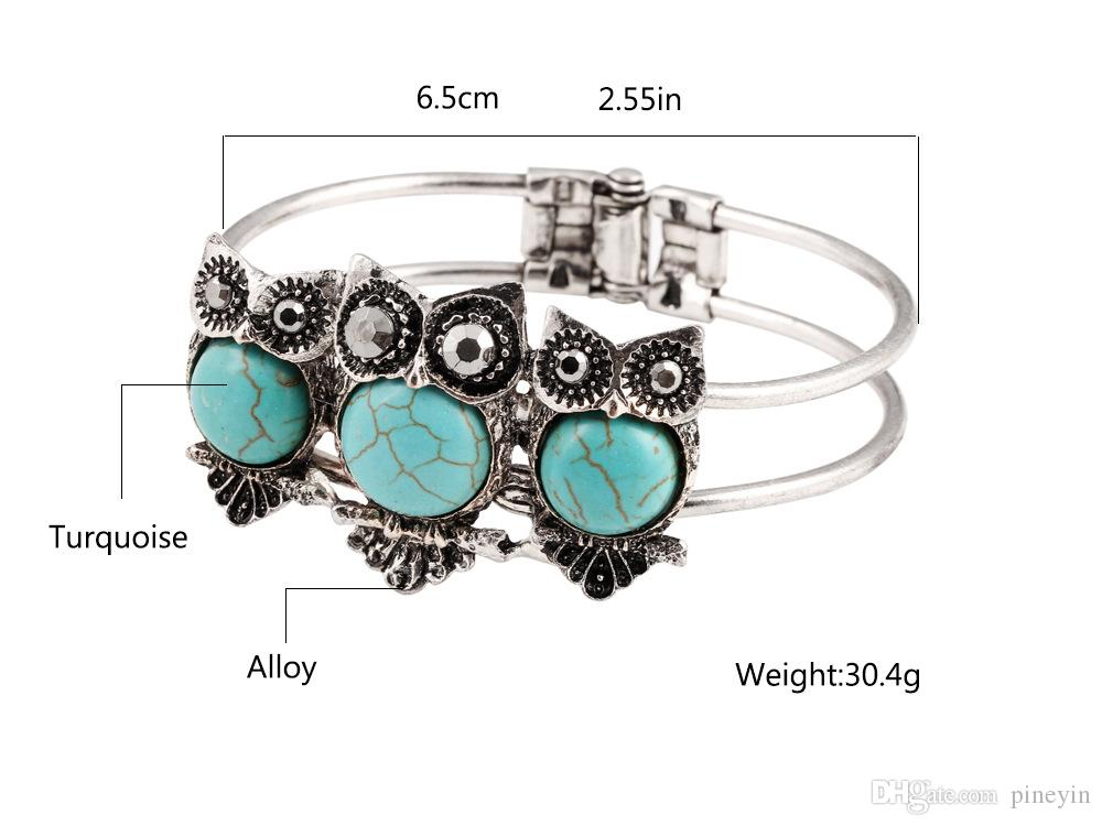 Antique Silver Owl Turquoise bracelets fashion jewelry green turquoise charm bracelets retro bracelet silver plated bangle TB0006