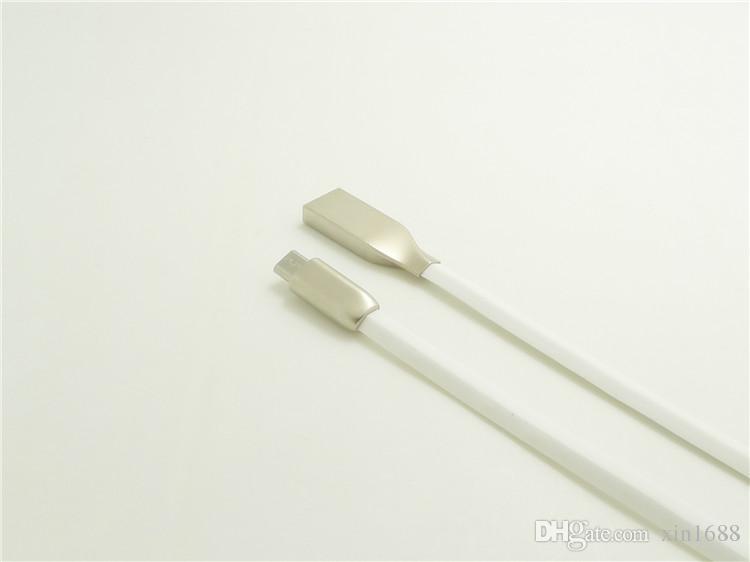 1M Aleación de zinc Metal Micro Cable USB 2A TPE Cable Data Sync Cargador de cable para Samsung Galaxy S4 S3 S6 para HTC Cable de teléfono Android