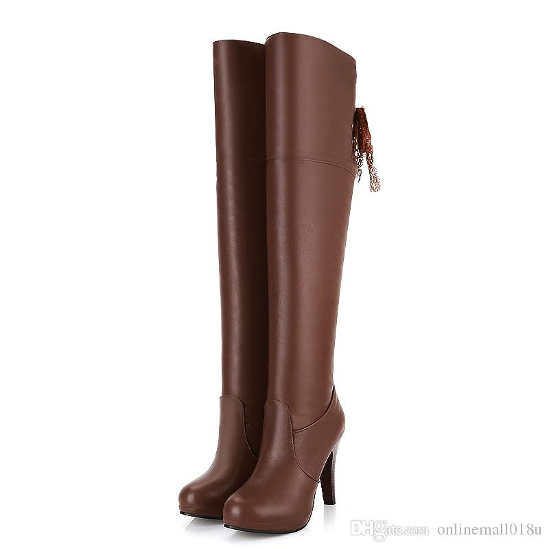 fashion winter new arrive women boots black brown round toe over the knee boots super high lace up ladies boots