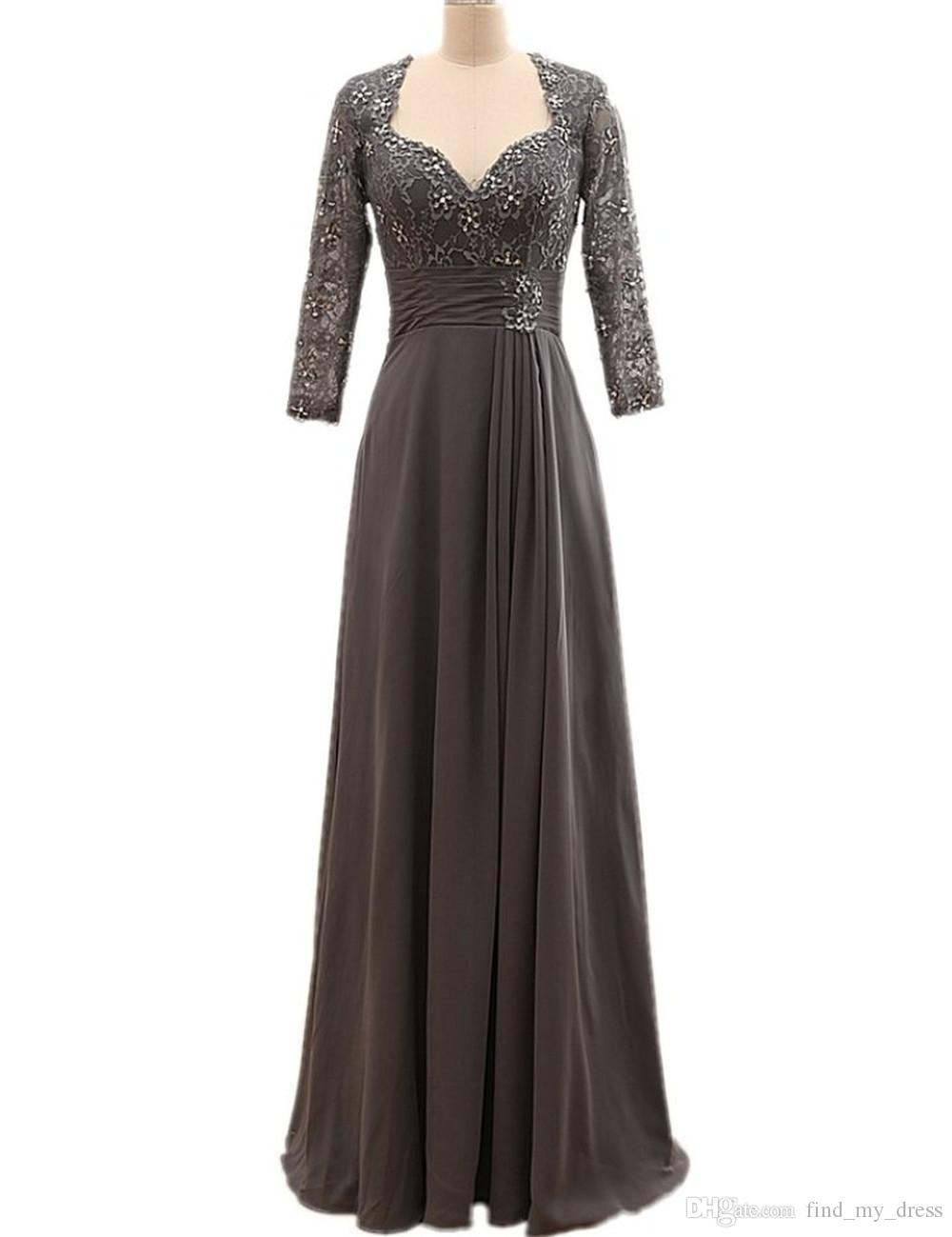 Newest Gray Mother of the Bride Dress with Jacket Long Sleeve Beaded Lace Chiffon Floor Length Women Formal Gowns Custom