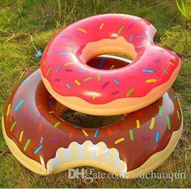 20 unids moda 120 cm Gigantesco Donut Flotador Natación Anillo Inflable Piscina para adultos flotadores playa y juguete de natación