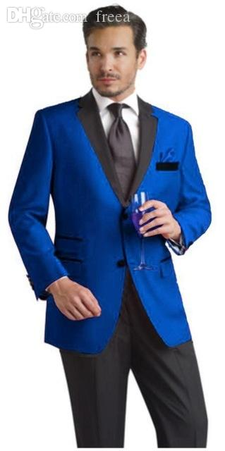Wholesale-New Arrival Two Button Blue Groom Tuxedos Groomsmen Men's Wedding Prom Suits Bridegroom (Jacket+Pants+Tie) K:716