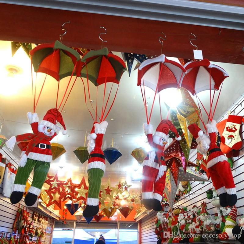 Christmas Home Ceiling Decorations Parachute 24cm Santa Claus Smowman New Year Hanging Pendant Decoration Supplies Snowman