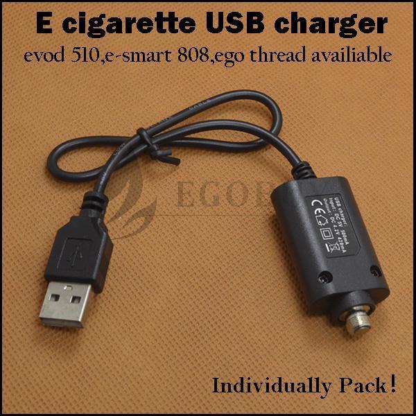 E-cigarette usb charger evod 510 ego e smart 808 thread usb chargers for evod ego-t e-smart 510 kanger esmart 808D-1 evod2 cf-vv battery