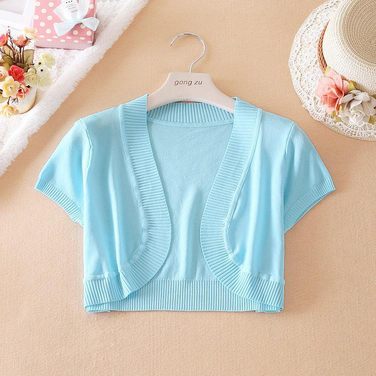 2018 2015 Women Lady Summer Short Sleeve Cropped Cardigans For ...