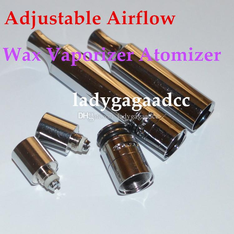 Wax Vaporizer Dual Quartz Coil Adjustable Airflow Metal Straight Tube Atomizer Vaporizer VS Glass Globe Atomizer Wax Vaporizer ecigs