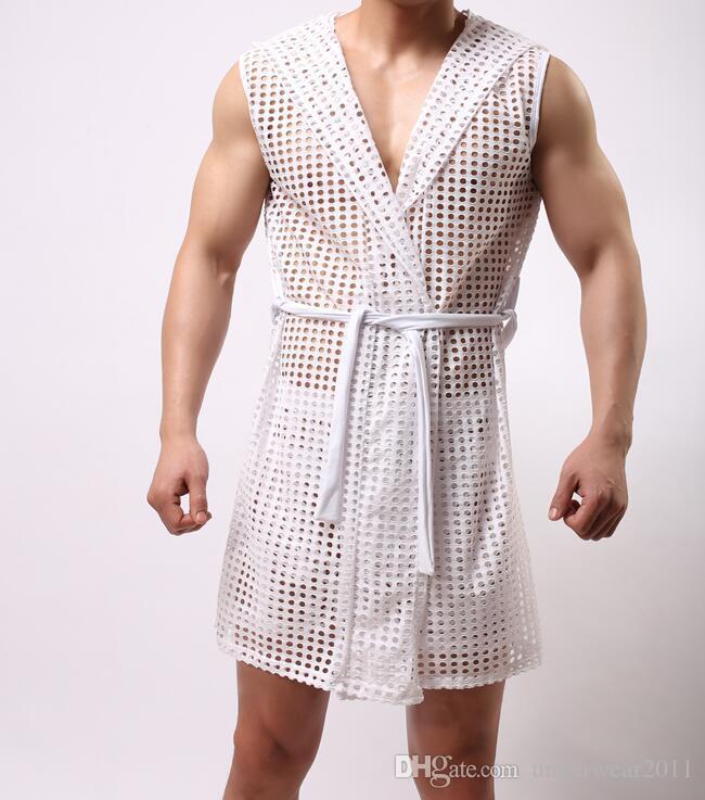 WOXUAN Fashion Man Funny Mesh Fishnet See Through Hooded Bathrobe ...
