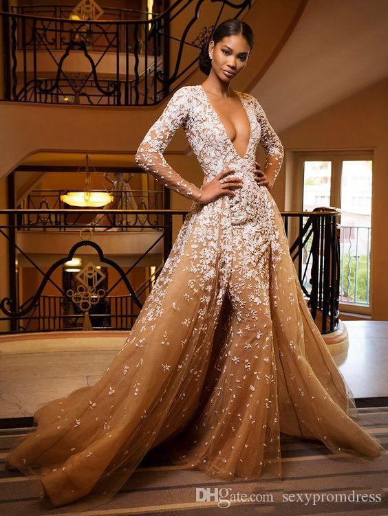 Zuhair Murad 2017 Deep V Neck Prom Dresses Champagne Color White Lace Appliques Illusion Long Sleeve Evening Gowns Formal Party Dresses