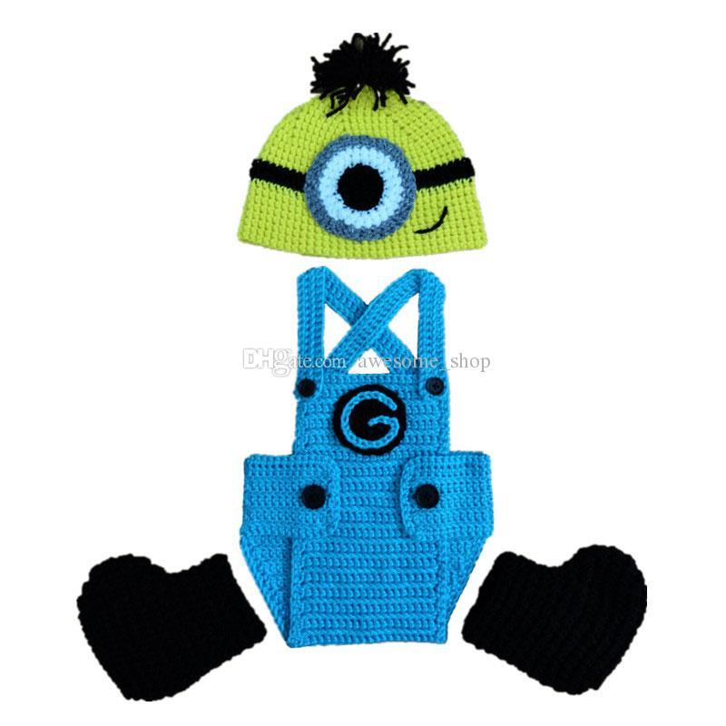 Handgemachte Knit häkeln Minion Baby Boy Outfits, Cartoon Minion Hut, Shorts, Booties Set, Infant Halloween Kostüm, Neugeborene Kleinkind Foto Prop