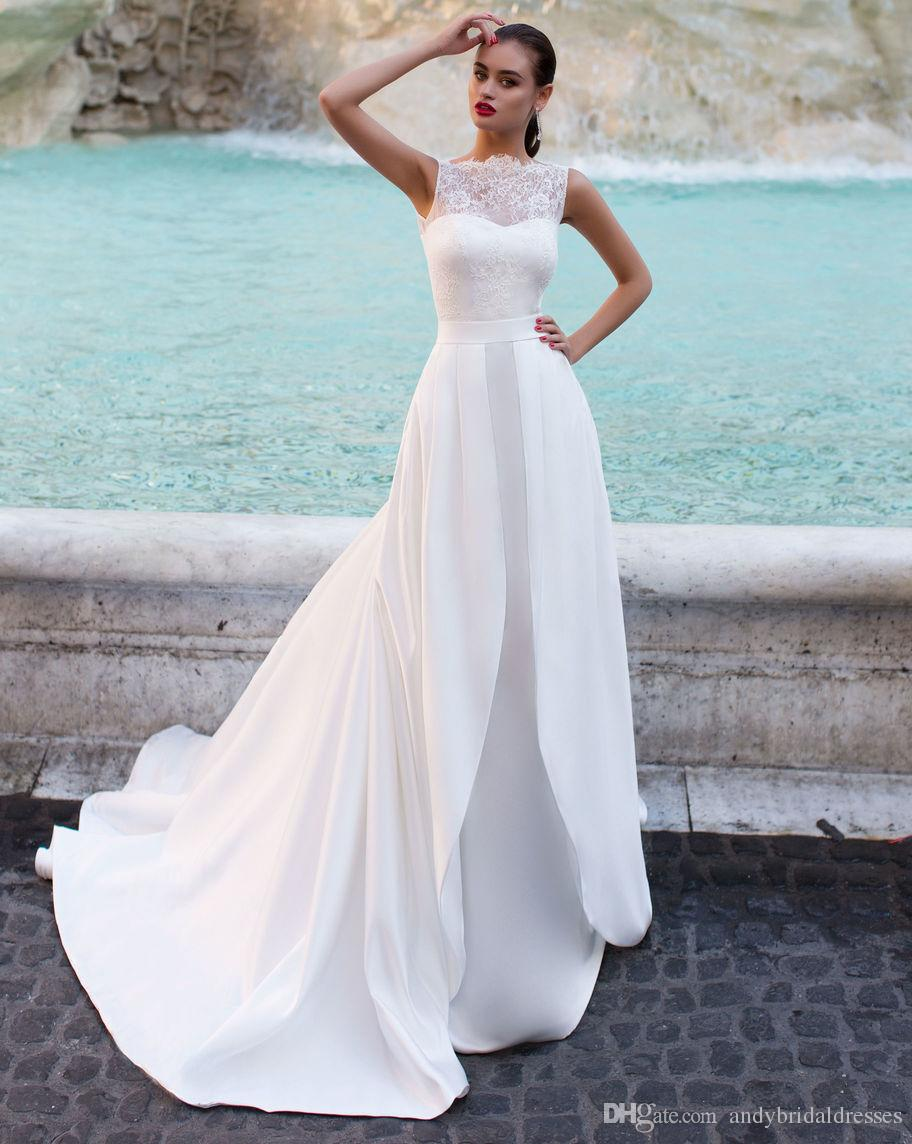 Sheer Lace Top Sleeveless Detachable Wedding Dresses Mermaid Bridal ...