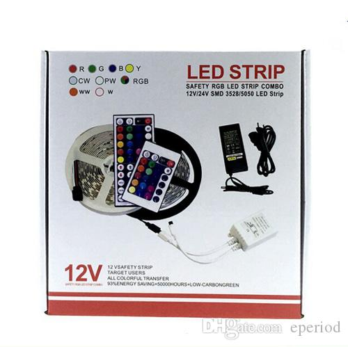 Led Strip Set Smd 5050 Waterproof Ip65 Rgb Flexible Led Strips + 24/44key  Ir Remote Control + 12v 5a Power Adapter With Retail Box Led Strip Lights  Battery ...