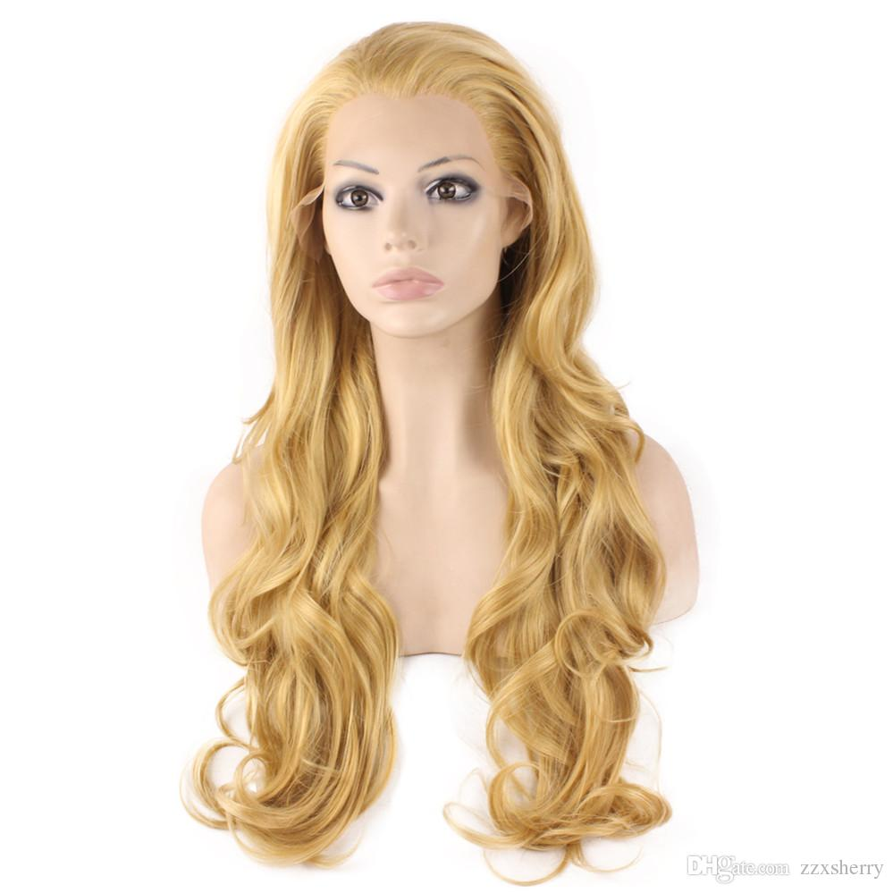 Long Wavy Blonde Natural Lace Front Synthetic Hair Wig