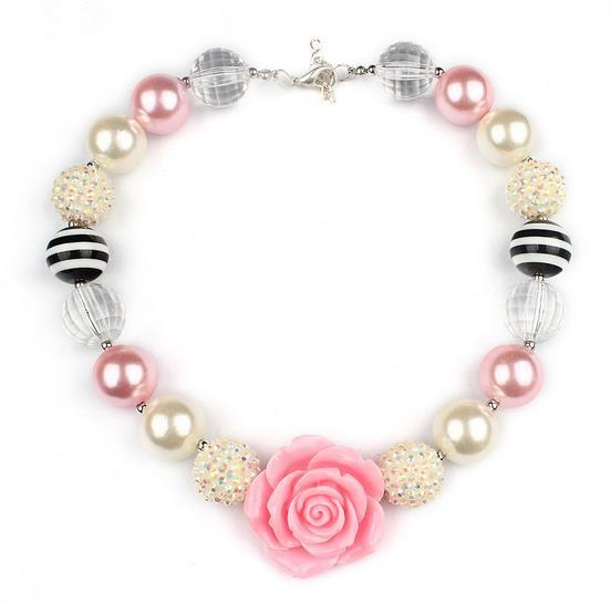 Wholesale 2016 fashion kids handmade beaded necklace children pink wholesale 2016 fashion kids handmade beaded necklace children pink rose flowers pendant beads necklaces kids cartoon jewelry accessories wholesale rose gold audiocablefo
