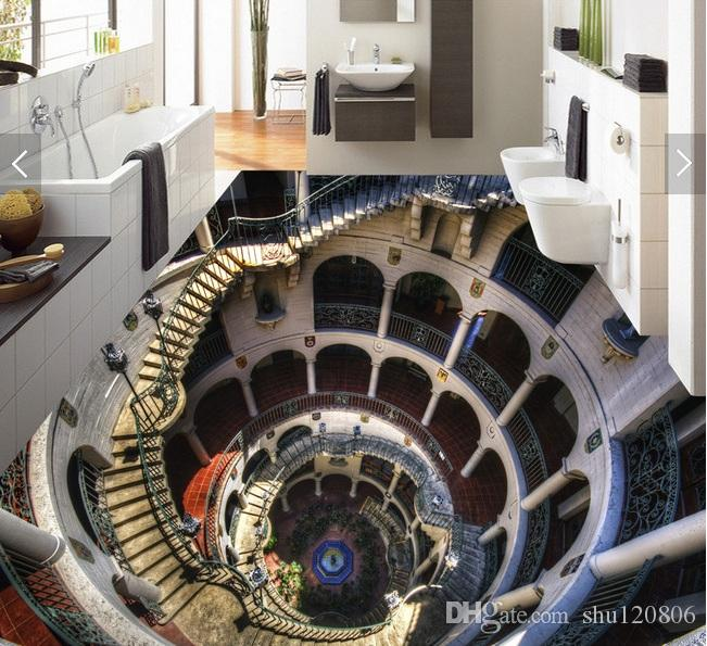 3d pvc flooring custom photo wallpaper wall sticker Spiral staircase corridor decoration painting picture 3d wall room murals wallpaper
