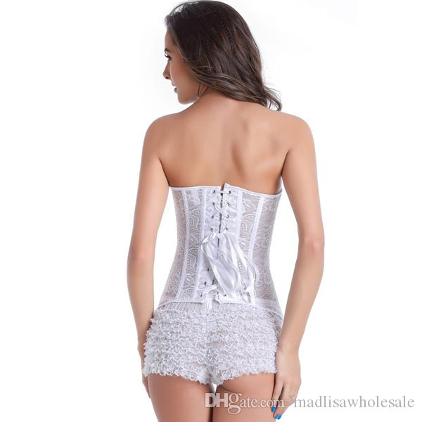 Front Zipper White Wedding Bridal Boned Overbust Shaping Corset Bustier Top Sexy Lingerie Underwear XS S M L XL XXL 0881