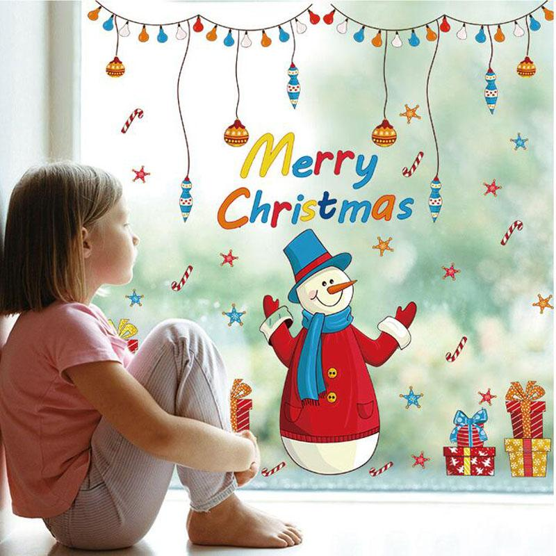 Merry Christmas Santa Claus snowman Removable Mural Wall Stickers Christmas Shopping Gifts Window Art Decal for Home Shops Decoration