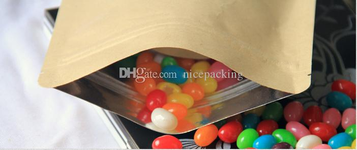 sample of Moisture-proof Kraft Paper with Aluminum Foil Lining Stand UP, Ziplock Bag for food in total ipc for each size
