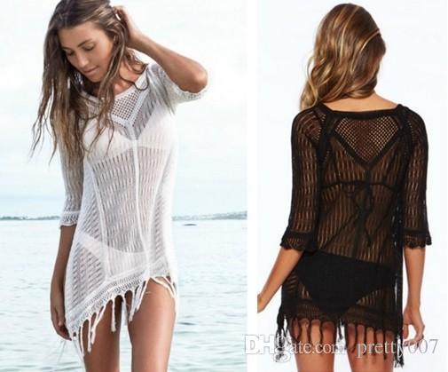 f1b1e0f400 Fashion Bikini Cover Ups Free Size Fringe Knitted Beach Cover Ups ...