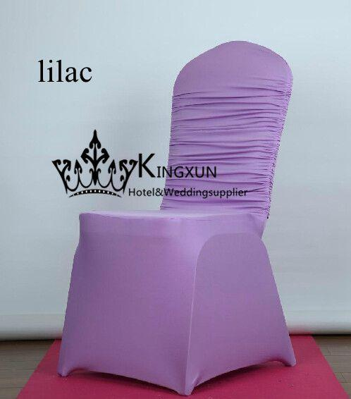Lavender Color Top Ruffled Lycra Spandex Chair Cover For