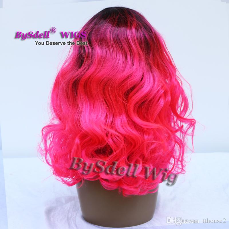 Gorgeous Two ton black root ombre bright rose red color hair wig synthetic lace front wigs for fashion mermaid cosplay woman Pastel hair