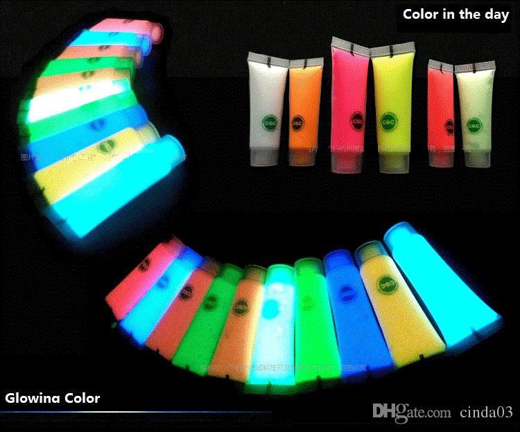 Wholesale-5X متوهجة الوجه الجسم blacklight الطلاء 15 جرام للحزب عيد الفصح هالوين -10 ألوان مشرقة مضيئة الاكريليك الدهانات مجانية