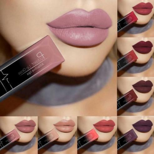 Frauen Wasserdichte Make-Up Lippen Glosss Lipgloss Langlebige Pigment Metallic Nude Matte Flüssiger Lippenstift Bea466