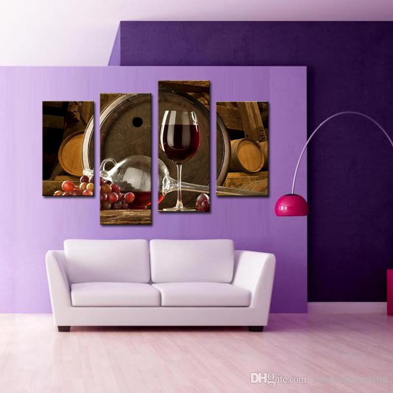 Amosi Art-4 Peças De Vinho E Frutas Com Vidro E Barril Arte Da Parede Pintura de Impressão Na Lona a Imagem Para Decoração de Casa com Moldura De Madeira