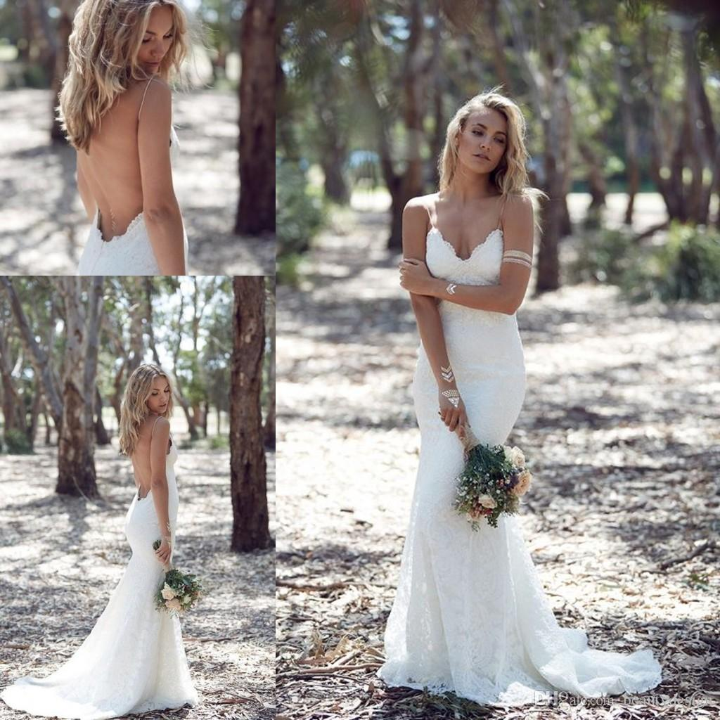 Katie May Sexy Sheath Mermaid Backless Boho Wedding Dresses Lace Spaghetti Garden Beach Bohemian Sheer Bridal Gowns Short Dress Silk