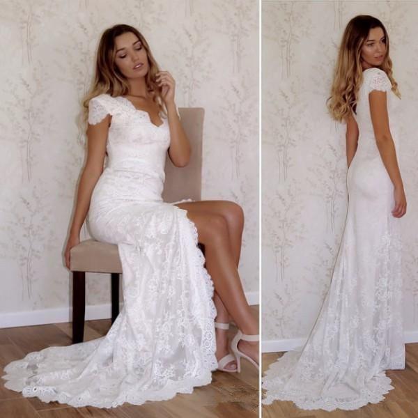Großhandel Neueste Brautkleider Mantel V Ausschnitt, Angeschnittenen ...