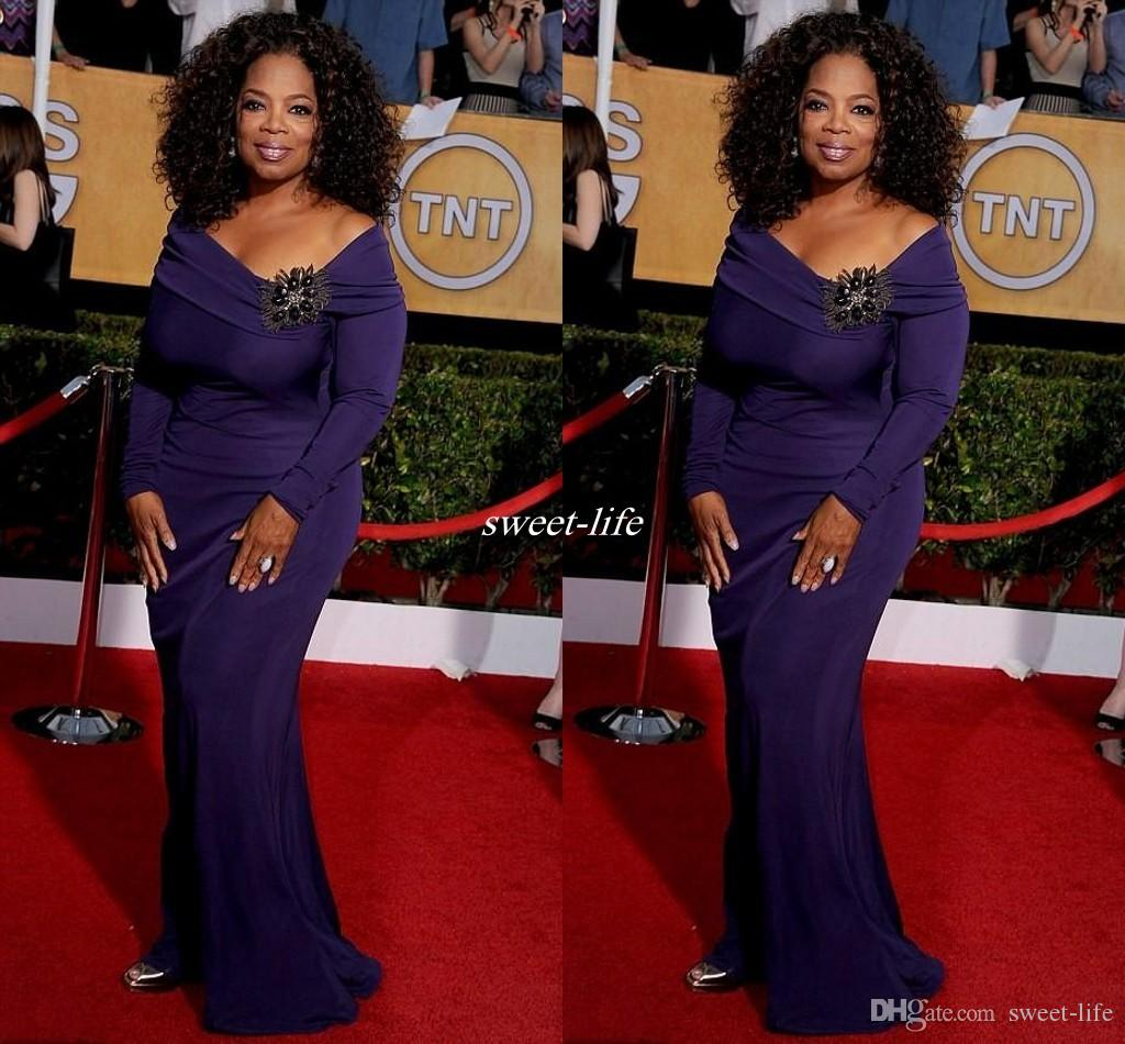 2016 Oprah Winfrey Celebrity Dresses Long Sleeve Purple Floor Length ...