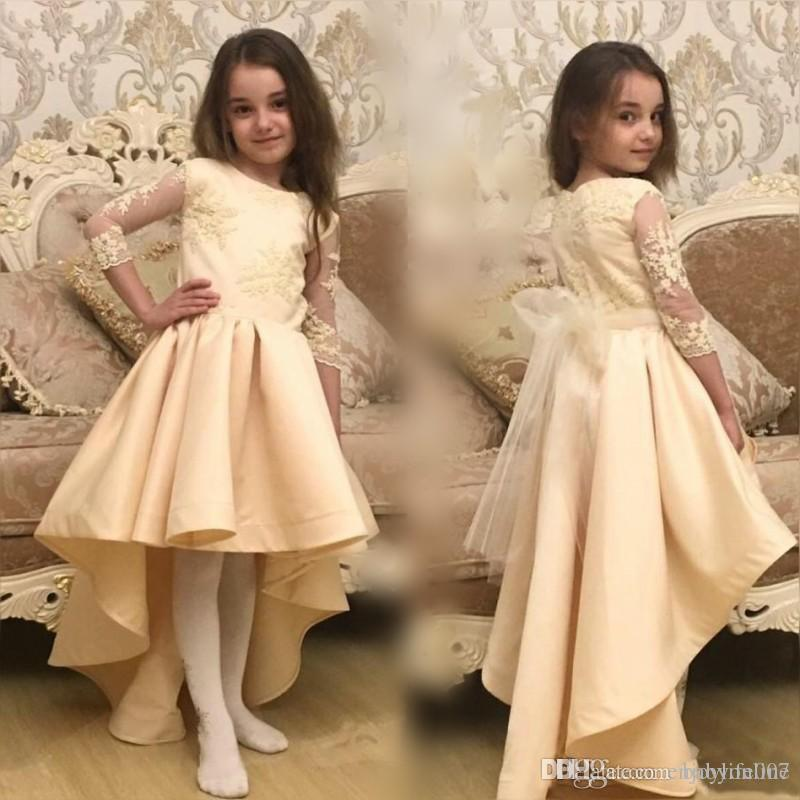 Vintage Champagne High Low Little Kids Flower Girl Dresses Formal