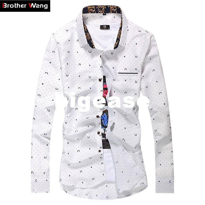 cc6d039fd2 2019 Wholesale New Men  S Casual Shirts Dot Printed Slim Long Sleeved Shirt  Business Fashion Men Large Size Brand Shirts M 7XL White Navy Blue From  Bigease