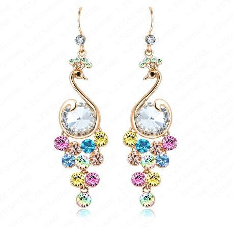 Fashion Long Drop Animal Earrings 18K Gold Plated Inlay Colorful Crystal Peacock Earrings for Women ER0086-C,ed01093