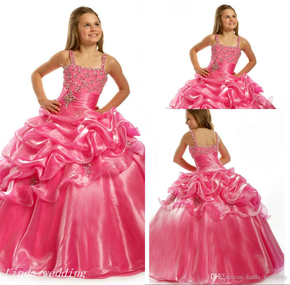 Pink Girl\'S Pageant Dress Princess Ball Gown Beaded Spaghetti Party ...