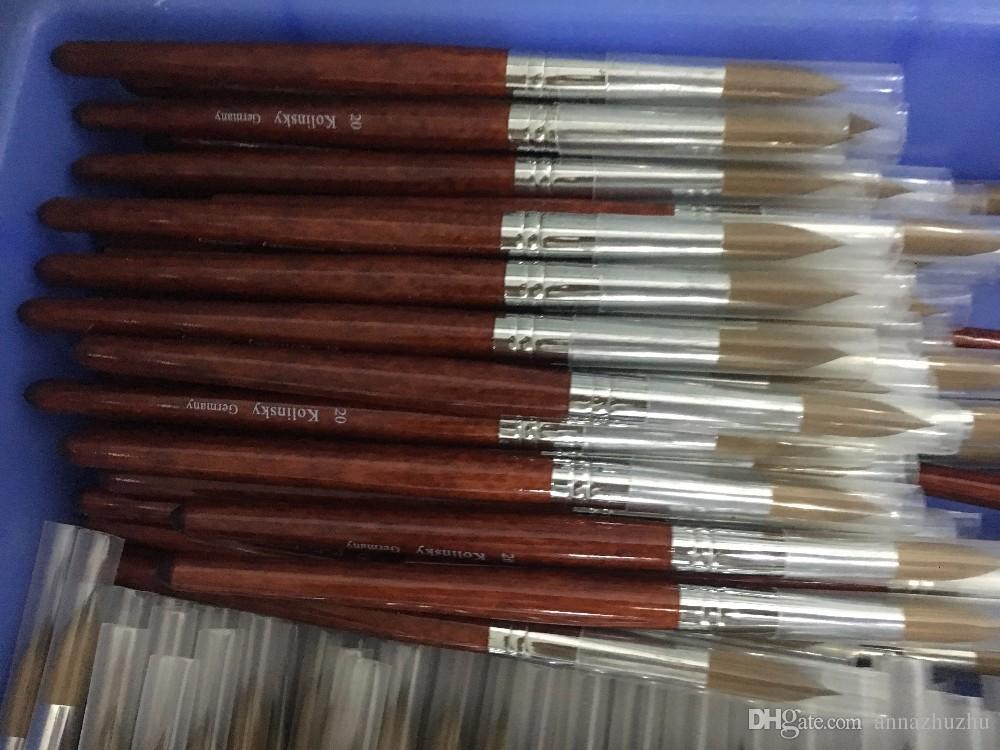 Круглый Sharp # 14 # 16 # 18 # 20 # 22 # 24 Высококачественная ручка-соболь Колински с красной деревянной ручкой Акриловая кисточка для ногтей Для профессиональной покраски маникюрного салона