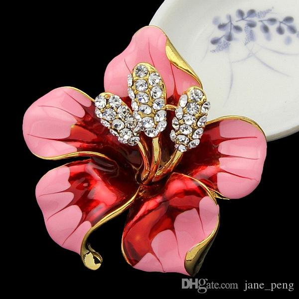 Wedding Brooches Red Rose Brooches Pins for Women Crystal Enamel Flower Mix Wholesale