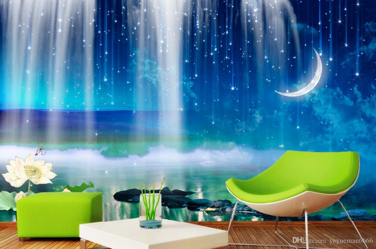 anpassen 3D HD Wasserfall Mond 3d wallpaper Wandbilder Sofa Schlafzimmer Fototapete Moderne 3d Wallpaper für Wohnzimmer Hintergrund