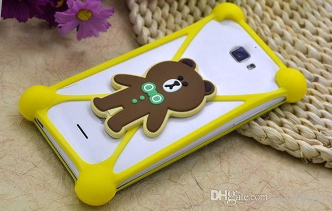 Étui en silicone universel personnage de dessin animé cadre pare-chocs mickey bear point poupée monstre pour iphone x 8 7 plus 6s plus samsung note 8 s8 s7 s6
