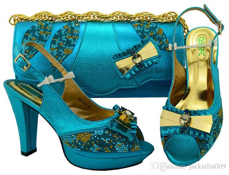 Bombas A maioria das mulheres verdes populares com strass e cristal grande bowtie projeto calcanhar 11cm sapatos africanos corresponder ao conjunto de bolsa para MM1048 vestido