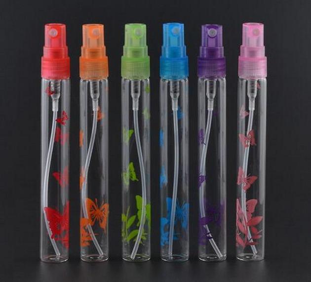 공장 가격 10ml 새로운 스타일 6 색 미니 리필 휴대용 향수 BottleGlass 빈 스프레이 인쇄 병